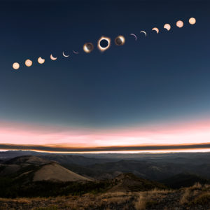 progression of a solar eclipse phases seen from fields peak in Oregon